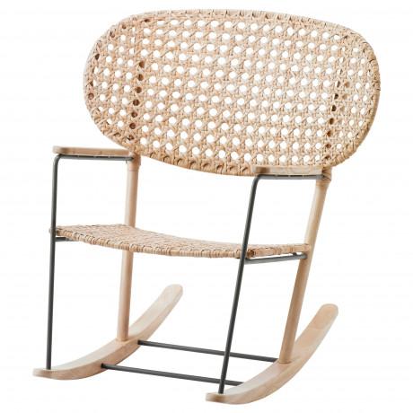 Кресло-качалка ГРЁНАДАЛЬ серый, естественный фото 0
