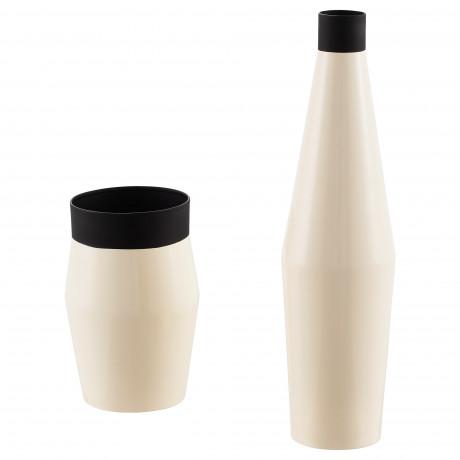 Набор ваз,2 штуки ГЛИТРИГ слоновая кость, черный фото 0