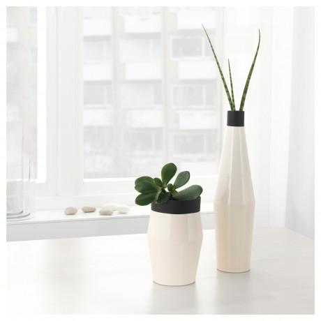 Набор ваз,2 штуки ГЛИТРИГ слоновая кость, черный фото 1