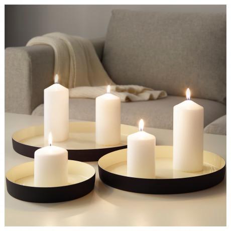 Тарелка для свечи, 3 шт. ГЛИТРИГ слоновая кость, черный фото 2