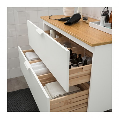 Шкаф для раковины с 2 ящ ГОДМОРГОН / ТОЛКЕН белый, бамбук фото 2