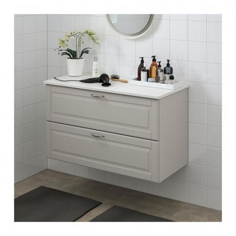 Шкаф для раковины с 2 ящ ГОДМОРГОН / ТОЛКЕН светло-серый фото 1