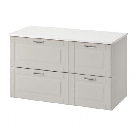 Шкаф для раковины с 4 ящ ГОДМОРГОН / ТОЛКЕН Кашён светло-серый, под мрамор фото 0