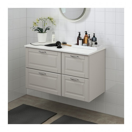 Шкаф для раковины с 4 ящ ГОДМОРГОН / ТОЛКЕН Кашён светло-серый, под мрамор фото 1