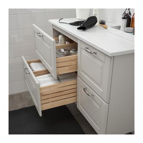 Шкаф для раковины с 4 ящ ГОДМОРГОН / ТОЛКЕН Кашён светло-серый, под мрамор фото 2