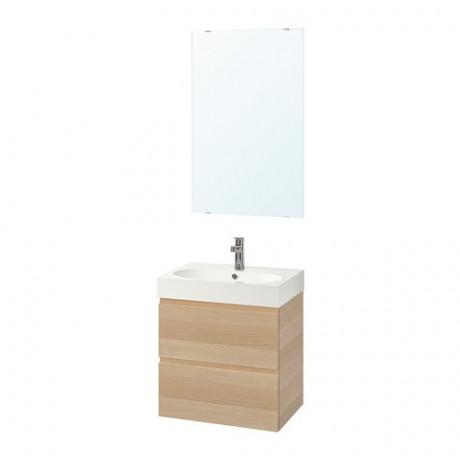 Комплект мебели для ванной,4 предм. ГОДМОРГОН / БРОВИКЕН под беленый дуб, БРОГРУНД смеситель фото 0