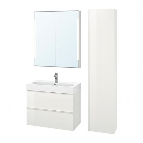 Комплект мебели для ванной,5 предм. ГОДМОРГОН / ОДЕНСВИК глянцевый белый, БРОГРУНД смеситель фото 0