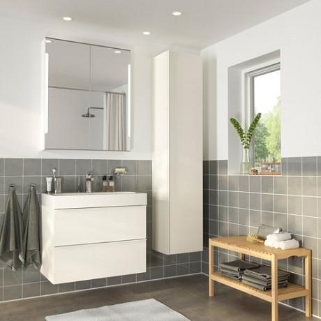 Комплект мебели для ванной,5 предм. ГОДМОРГОН / ОДЕНСВИК глянцевый белый, БРОГРУНД смеситель фото 1