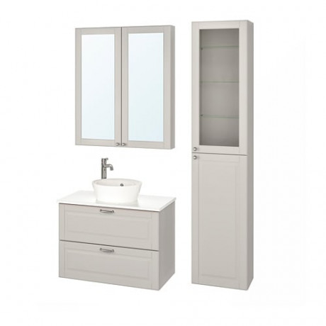 Комплект мебели для ванной,6 предм. ГОДМОРГОН/ТОЛКЕН / КАТТЕВИК Кашён светло-серый, под мрамор ВОКСНАН смеситель фото 0