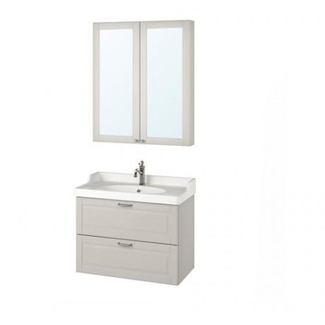 Комплект мебели для ванной,4 предм. ГОДМОРГОН / РЭТТВИКЕН светло-серый фото 0