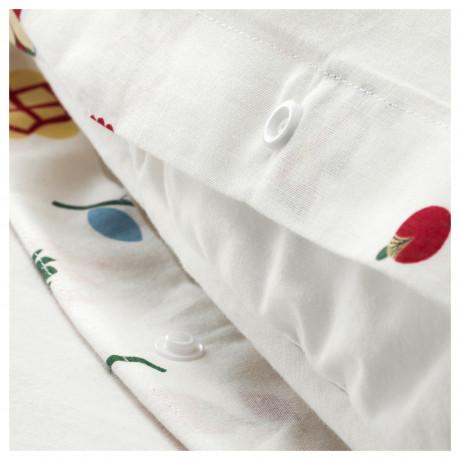 Пододеяльник и 1 наволочка РОЗЕНФИББЛА белый, с цветочным орнаментом фото 5