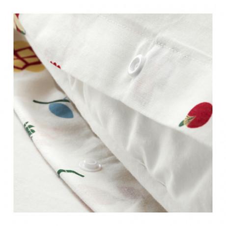 Пододеяльник и 2 наволочки РОЗЕНФИББЛА белый, с цветочным орнаментом фото 1
