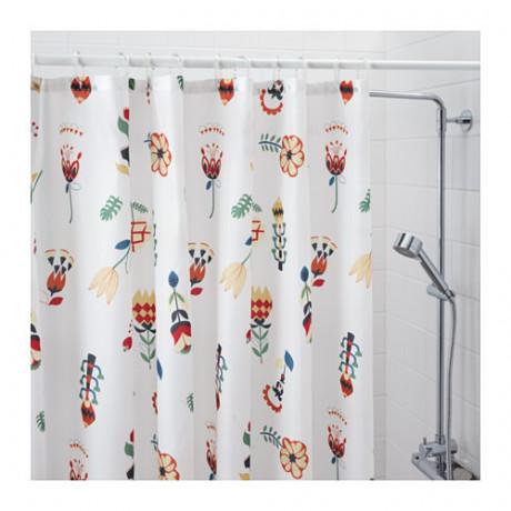 Штора для ванной РОЗЕНФИББЛА белый, цветочный орнамент фото 1